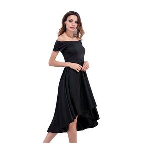 Vestido Noche Negro Graduación Boda Elegante A Los Hombros