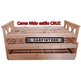 Cama Nido Modelo Cruz Tres Camas (con Carrocama) Pino-3f
