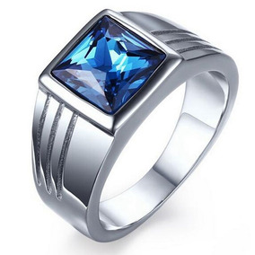 Anel Masculino Aço Titanio Azul Safira Zirconia