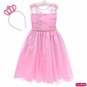 Vestido Festa Infantil Menina Princesa Rosa Com Coroa Chique
