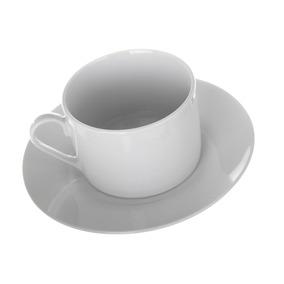 Taza Y Plato Para Cafe Juego De 6 Porcelana Blanca 200ml