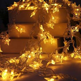 Tira Guirnalda Luz Led 28 Estrellas 5 Mts A Pilas Decoracion