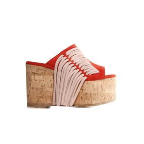 Sarkany Limba - Sandalia Mujer Plataforma Con Flecos Gamuza