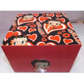 Fichario De Mesa Pinho 3x 5 Pintado E Decorado Betty Boop