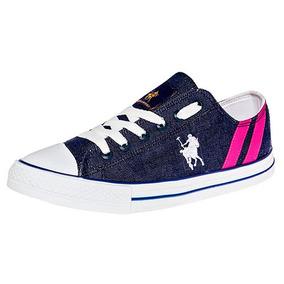 Tenis Sneaker Dama Azul American Polo Textil U00518 Udt