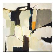 Quadro Pintura Tela Abstrato Cinza Preto Laranja 1,5x1,5 M