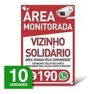 Placa Vizinho Solidário - Whatsapp - 10 Unidades - 20x30cm