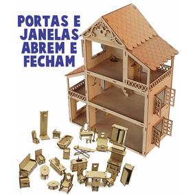 Casa Casinha Mdf Bonecas Polly Grátis 27 Mini Móveis