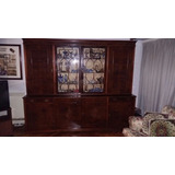Mueble Con Cristalero Antiguo De Nogal Estilo Ingles