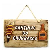 Placa Cantinho Do Churrasco Decorativa Resina Resistente