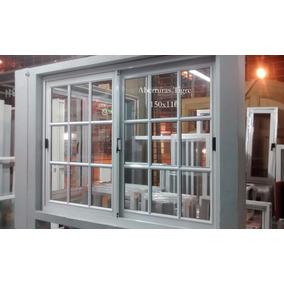 Ventana De Aluminio Blanco 150x110 Cm Vid Repartido Con Reja