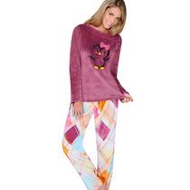 Conjunto Pijama Pantalon Tela Polar Bordado N4626 Vicky Form