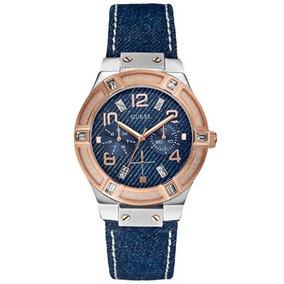 Promoção Relógio Guess W0289l1 Pulseira Jeans Original #001