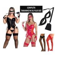 Espartilho Sensual Dominadora Moda Intima Completo Meias