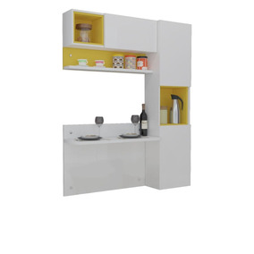 Cozinha Com Bancada,armários Prisma Ronipa-branco/amarelo