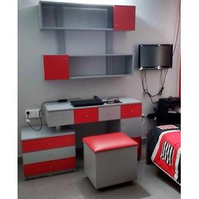 escritorio juvenil cajoneras biblioteca mueble dormitorio