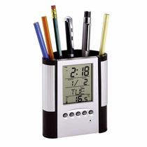 Portalápices Reloj Multifunción Alarma Temperatura Calendar