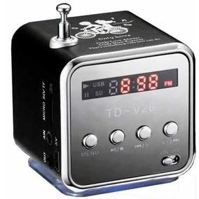 Caixa De Som Amplificada Td-v26 Pequena Usb Micro Sd Fm Mp3