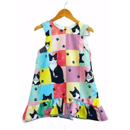 Vestido Infantil Trapézio Gatinho  Presente Para Menina