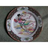 Antiguo Plato De Porcelana China, Pintado A Mano. Sellado.