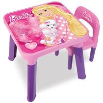 Barbie Mesinha Infantil Com Cadeira Rosa Menina Fun