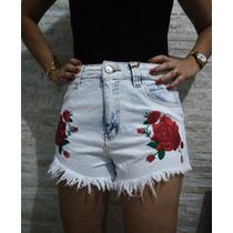 Shorts Hot Pants Bordado Flor Cintura Alta Jeans Lady Rock