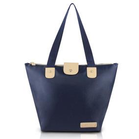Bolsa Dobrável Lisa Azul Escuro