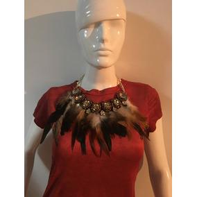 Collar De Plumas En Color Cafe Y Negro