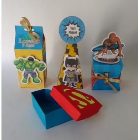 Kit Personalizados Super Heróis Cone Milk Passa Fita 3d80pç