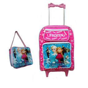 Mochila Escolar Infantil Rodinhas Kit Frozen Lancheira Azul
