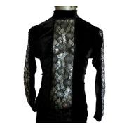 Eretica Ropa Dark-camisa Encaje Pecho Y Manga-rock-gotico