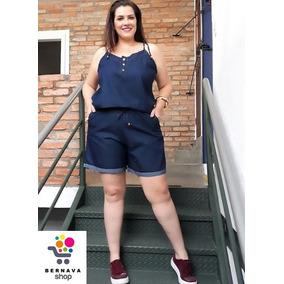 Macacão Macaqunho Jeans Feminino Plus Size Grande