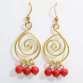 Brinco Feminino Dourado + Pedra Howlita Vermelha - Importado