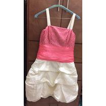 Vestido De Fiesta Color Coral Con Blanco Perla
