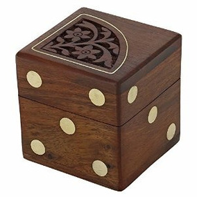 Hecho A Mano India Dice Game Set Con Decorativo Caja De Alma