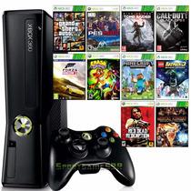Xbox 360 Slim 4gb + 10 Jogos Em Disco + Joga Na Live