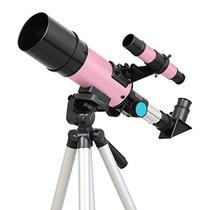 Pink Twinstar 60mm Compacto Telescopio Refractor Niños