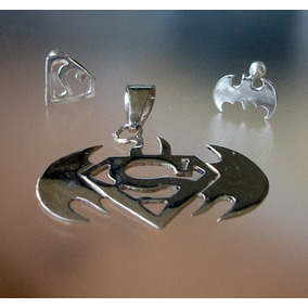 Aretes Y Dije De Superman Vs Batman En Plata Ley.925