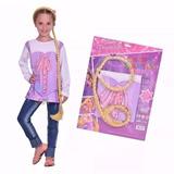Set De Remera Y Trenza Rapunzel Talle Unico 6a8 Años Disfraz