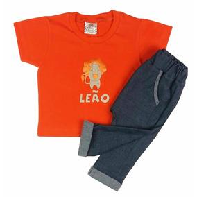 Conjunto Bebê Camiseta Laranja Com Calça Saruel Jeans