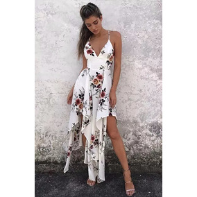 Vestido Longo Seda Chifon Estampa Floral Primavera/verao18