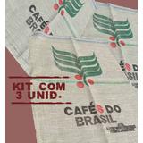 Saco Estopa Juta Café Do Brasil (novo)70cmx95cm-kit C/3unid