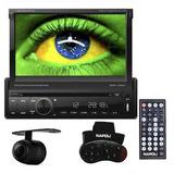 Dvd 1 Din 7 Retrátil Bluetooth Tv Digital Gps Câmera De Ré