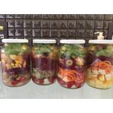 Jogo 5 Potes Vazios Novos Vidro Pote Salada Boca Larga Disp