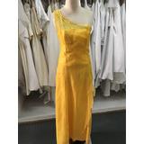 Vestido Amarillo Con Encaje Y Bordado A Mano Transparencia