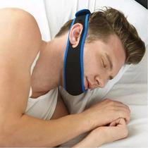 Faixa Cabeça Queixo Anti Ronco Apneia Preto Com Azul Marinho