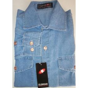 Camisa Jeans Masculina Slim Manga Longa Com 2 Bolsos