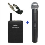 Microfone Sem Fio Duplo Leson + Transmissor De Instrumento