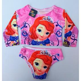 Biquíni Cropped Infantil Personagem Princesinha Sofia