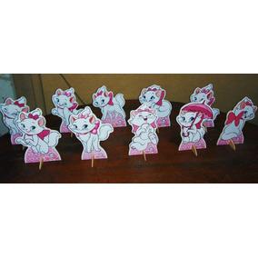 Kit 10 Gatinha Marie De Mesa 15cm,display,festa Infantil,mdf